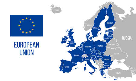 European Union political map. EU flag. Europe map isolated on a white background. Vector illustration