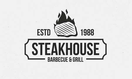 Steakhouse retro logo. Steak with fire flame. Barbecue restaurant logo, emblem, poster. Vintage design. BBQ Vector template logo.