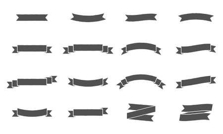 Bandiere del nastro di vettore. Design vintage di striscioni a nastro. Set di 16 striscioni di nastri grigi. Vettoriali