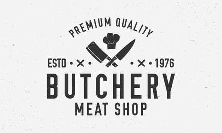 Butchery logo. Vintage butcher shop logo with meat knives and chefs hat. Logo or poster for meat shop, butchery, grocery store. Vector emblem template