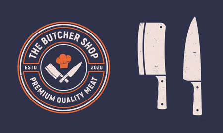 The butcher shop vintage logo. Butchery and meat shop emblem with meat knives. Butcher shop logo template. Meat knives icons. Vector illustration