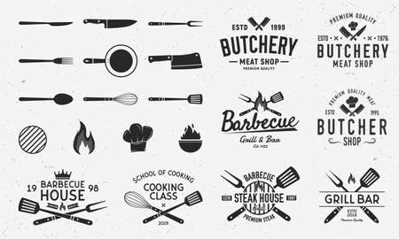 Collection of Butchery, Barbecue and Grill logos, emblems, labels, badges. Set of 8 logo templates and 13 design elements for logo design. Vector templates Illustration