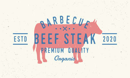 Beef Steak logo. Cow silhouette. Vintage poster for restaurant, barbecue, steak house, bar. Vintage typography. Vector logo template.