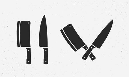 Set of meat cutting knives icons. Butcher supplies. Set of chefs and meat cleaver knives. Butchers design elements for logo, poster, emblem. Vector illustration Illustration