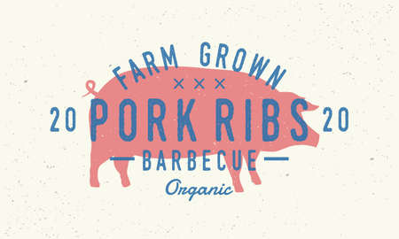 Pork Ribs logo. Pig silhouette. Vintage poster for restaurant, barbecue, steak house, bar. Vintage typography. Vector logo template.