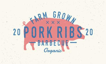Pork Ribs logo. Pig silhouette. Vintage poster for restaurant, barbecue, steak house, bar. Vintage typography. Vector logo template.