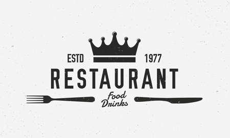 Restaurant vintage logo. Restaurant template logo with fork and knife. Modern design poster. Label, badge, poster for cafe, bar, lounge, restaurant. Vector illustration Illustration