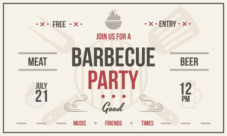 Barbecue party poster. Vintage barbecue party invitation card. BBQ poster vector template.