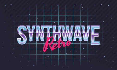 Synthwave, retrowave background. Retro laser grid in space. Vector illustration Vectores