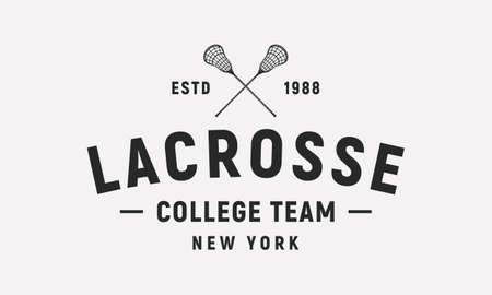 Lacrosse emblem, label template. Lacrosse crossed sticks isolated on white background. Lacrosse college team. Vector emblem