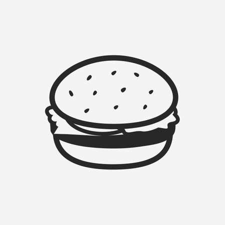 Burger, Hamburger, Cheeseburger icon. Burger vintage design element for restaurant menu, logo, poster. Vector illustration