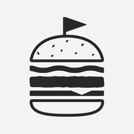 Modern burger icon isolated on white background. Simple burger icon. Burger design element for restaurant menu, logo, poster. Vector illustration Ilustracja