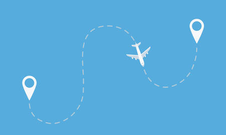 Plane flight from starting to end point. Travel, tourism banner. Vector illustration