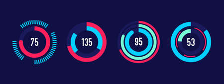 Vector modern circular infographic elements. Set of circle progress bars. Loading bars for business presentation.