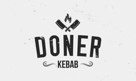 Doner kebab logo with meat cleavers isolated on white background. Vintage kebab logo with grunge texture. Vector illustration