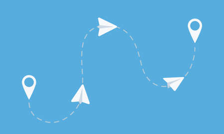 Paper airplanes flight from starting to end point. Email, Message, Teamwork business concept. Vector illustration Stock Illustratie