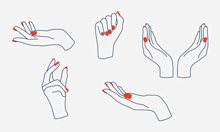 Set of girl, woman hands with manicure. Modern flat design elements for logo, banners, emblems, labels. Fashion business. Vector illustration
