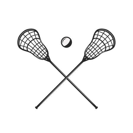 Lacrosse sticks and ball silhouettes isolated on white background. Crossed lacrosse sticks. Vintage design elements for logo, badges, banners, labels. Vector illustration