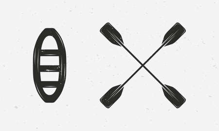 Raft and paddles silhouettes isolated on white background. Vector extreme water sport icons.