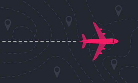 Plane flies over a landscape with map pointers and dashed lines. Motivation or travel concept. Vector illustration Ilustrace