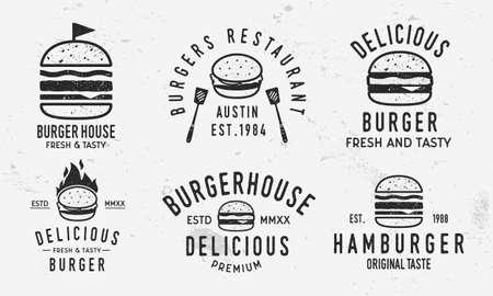 Vector Burger logo set. Vintage burger, sandwich or hamburger labels, badges. Fast food and restaurant logo templates with grunge texture. Ilustracja