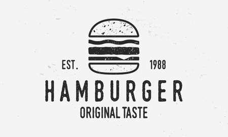 Hamburger vector logo template. Vintage burger cafe logo with grunge texture. Trendy vintage design. Ilustracja