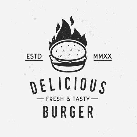 Delicious burger logo template with fire flame isolated on white background with grunge texture. Vector illustration