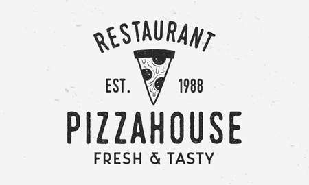 Pizza house logo with pizza slice icon and grunge texture. Vintage typography for pizza. Pizza cafe, restaurant label, badge. Vector illustration