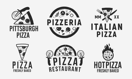 Collection of 6 pizza logo, emblems, labels and badges. Pizzeria, Pizza house, cafe, restaurant. Vector logo templates. Ilustrace