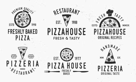 Vintage Pizza logotypes isolated on white background. Pizzeria emblems set with pizza slices, chef hat, knife, fork and grunge texture. Vector illustration