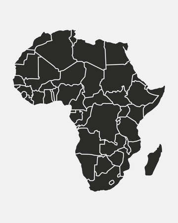 Africa map with regions isolated on a white background. Africa map background. Vector illustration