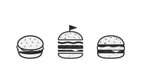 Fast Food icons isolated on white background. Set of 3 vector burgers with grunge texture. Elements for restaurant menu design, logo, labels.