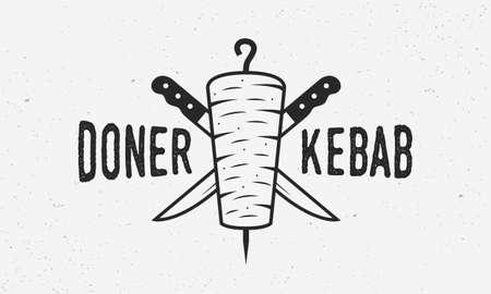 Doner Kebab vintage logo or poster template. Doner Kebab with kebab knives isolated on white background. Design element for restaurant menu, cafe. Trendy vintage poster. Vector illustration