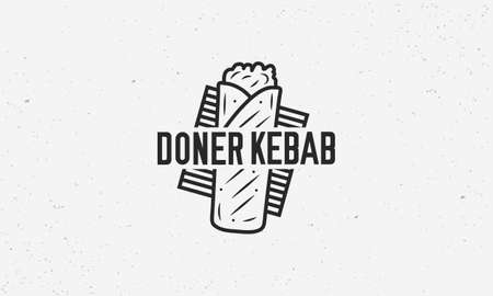 Doner Kebab logo template with sandwich kebab and grill. Kebab logo isolated on white background. Trendy vintage design. Vector illustration