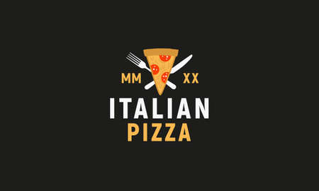 Italian Pizza logo isolated on black background. Modern flat design logo template. Pizza slices with fork and knife. Vector illustration Ilustrace