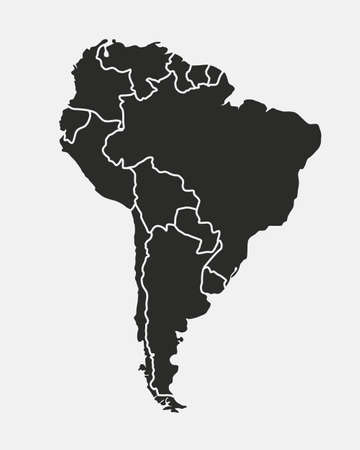 South America map isolated on a white background. Latin America background. Map of South America with regions. Vector illustration