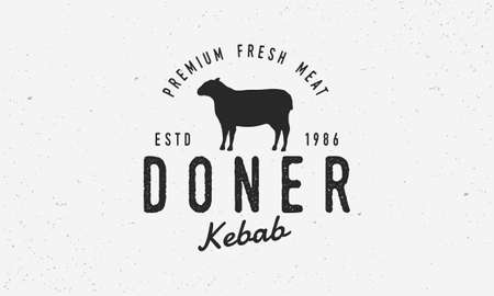 Doner Kebab hipster logo template. Logo for Kebab, restaurant with lamb silhouette. Typography restaurant. Vintage design for meat store, restaurant.