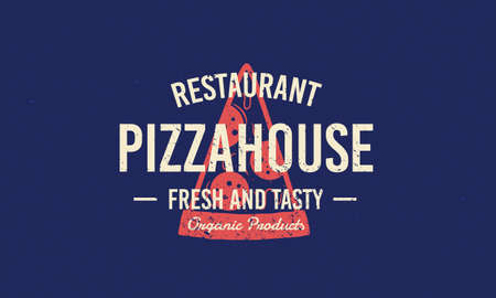 Pizza house vintage grunge logo. Vintage typography for pizza cafe, restaurant label, badge. Pizza slice silhouette with lettering. Vector illustration