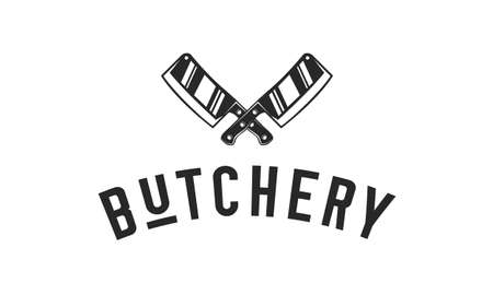 Butchery, Butcher Shop monochrome logo with meat knives. Retro poster, label for meat shop, restaurant, steak house, bbq. Trendy minimal design. Vector illustration