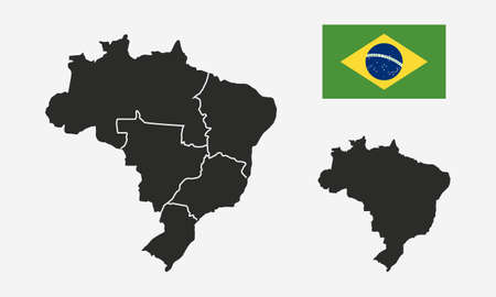 Brazil with regions map and Brazil flag isolated on white background. Blank map of Brazil. Brazil background. Vector illustration Ilustrace