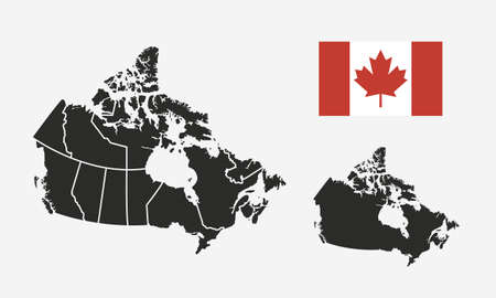 Canada map with regions and Canada flag isolated on white background. Canadian background. Vector illustration