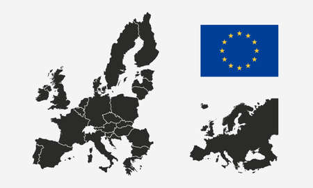 European Union, EU flag and Europe map isolated on a white background. Europe background. Map of Europe. Vector illustration