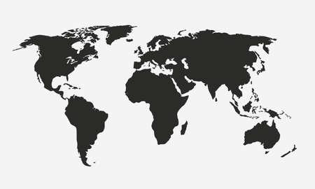 Mapa świata wektor na białym tle. Mapy Ameryki, Afryki, Europy, Azji i Australii. Mapa świata. Tło świata. Ilustracja wektorowa