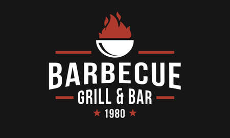 Barbecue grill, bbq restaurant logo, poster. Trendy vintage design logo. Vintage graphic template for restaurant, steak house, grill house, cafe. Vector label template.