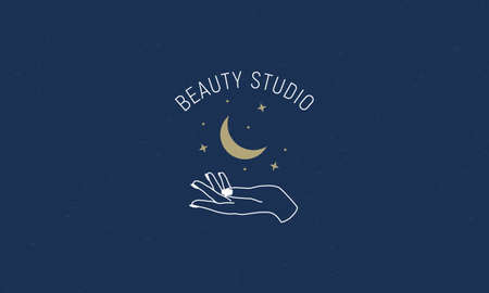 Abstract trendy logo design. Beauty Studio trendy abstract label, poster. Minimal linear art. Hand, moon and stars. Vector graphic logo template for beauty salon, cosmetics, hand crafted products.