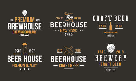 Beer, pub and bar retro logo set. Craft beer logo, poster design with brew hop, beer bottles. Vintage typography for beer house, brewery, bar and pub. Vector emblem template
