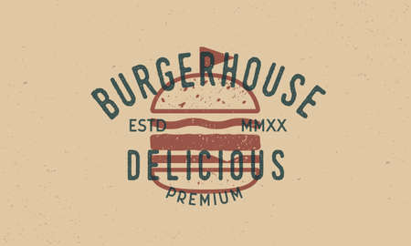 Engraving Burger label for fast food, restaurant. Vintage typography with burger silhouette and grunge texture. Modern design. Vector illustration. Ilustrace