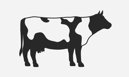 Cow silhouette isolated on white background. Vector cow icon.