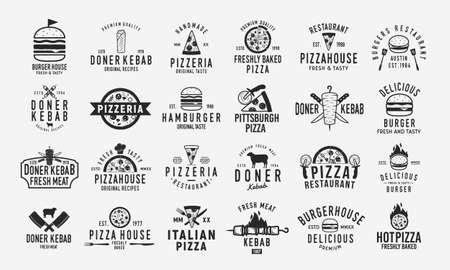 Burger, Doner Kebab and Pizza logo set. Set of 24 vintage logo templates for Fast Food Restaurant. Pizza, Burger and Kebab silhouettes. Vintage typography. Vector food labels, emblems, posters. Ilustracja