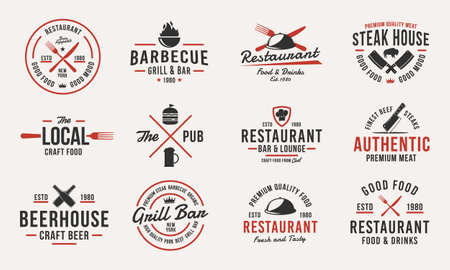 Trendy vintage logo templates. Set of 12 emblems with design elements for restaurant business. Retro logo or poster for Barbecue, Beer house, Steak House, Restaurant, butchery. Vector illustration Ilustrace